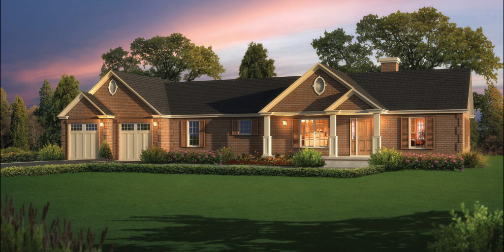 A 3D rendering of the Azalea patio home.