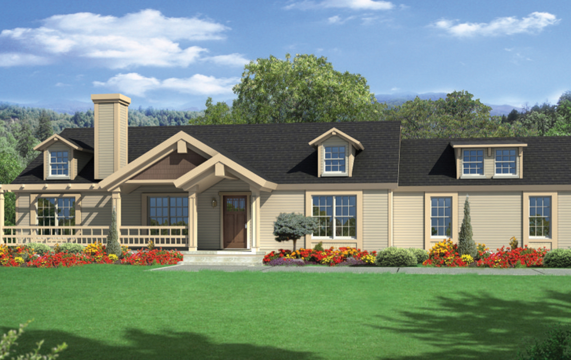 A 3D rendering of the Camellia patio home.